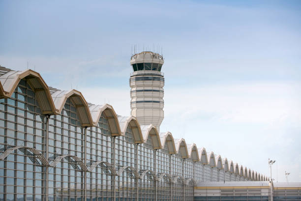 "Control Tower at Airport ""Air traffic control tower and terminal building in Ronald Reagan National Airport, Washington DC.Click on the photo below to view more images from my flight collection."" ronald reagan washington national airport stock pictures, royalty-free photos & images"