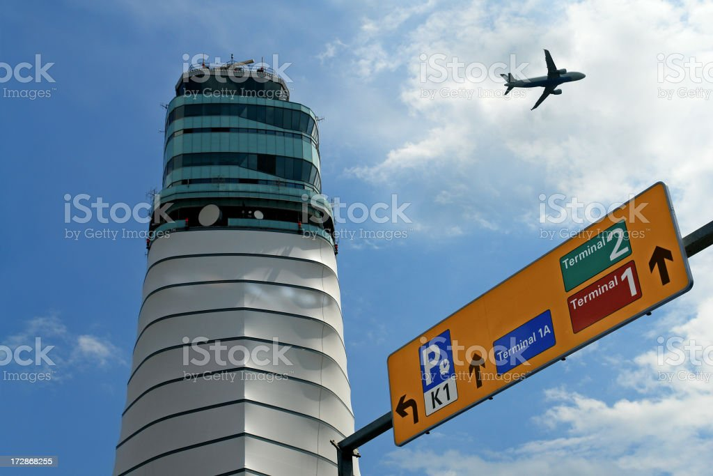 Control Tower at International Vienna Airport royalty-free stock photo