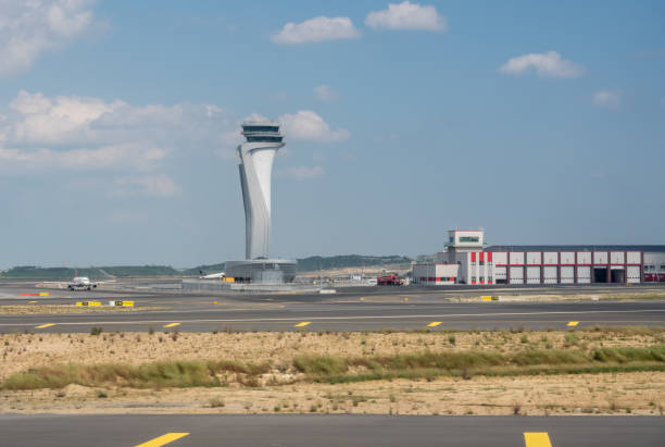 Control tower at Istanbul Airport in Turkey stock photo