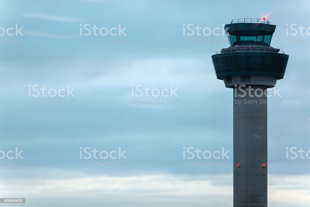 Control tower in airport stock photo