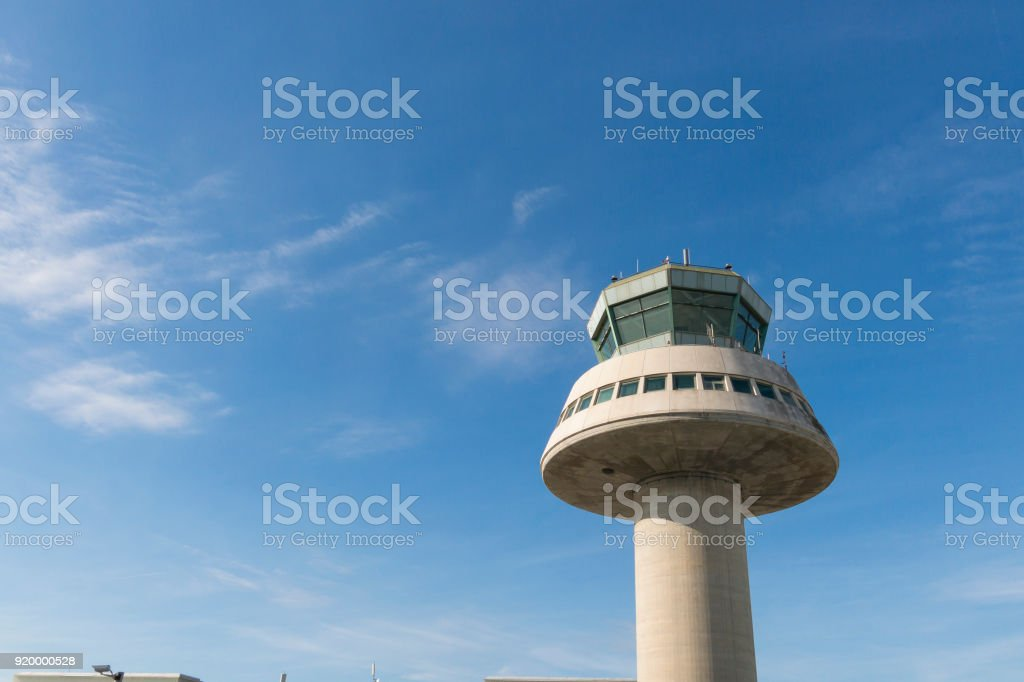 Control tower in Barcelona Airport, Catalonia, Spain. stock photo