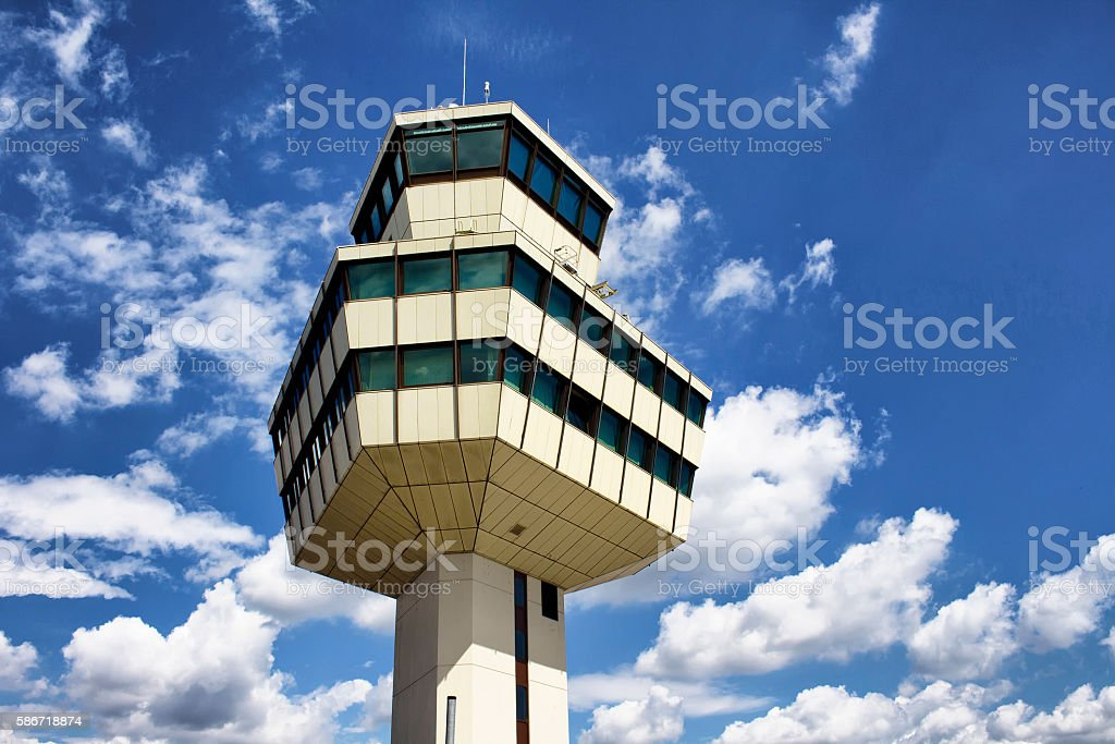 Control tower of Tegel airport in Berlin - foto de acervo