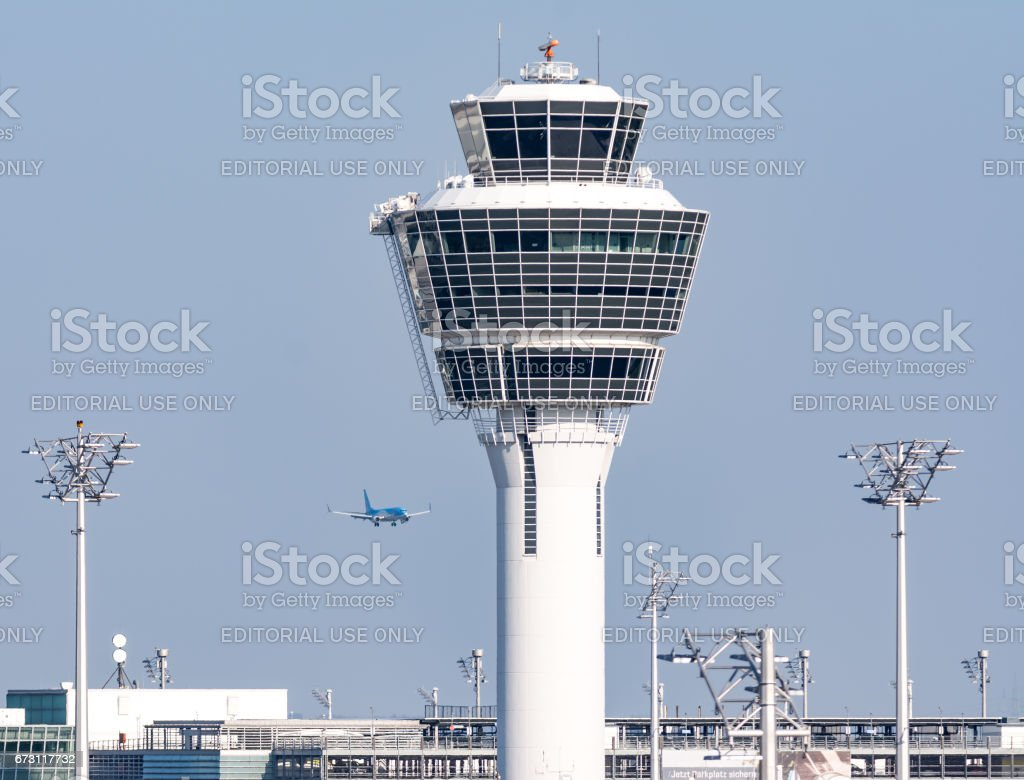 Control tower of the Munich airport stock photo