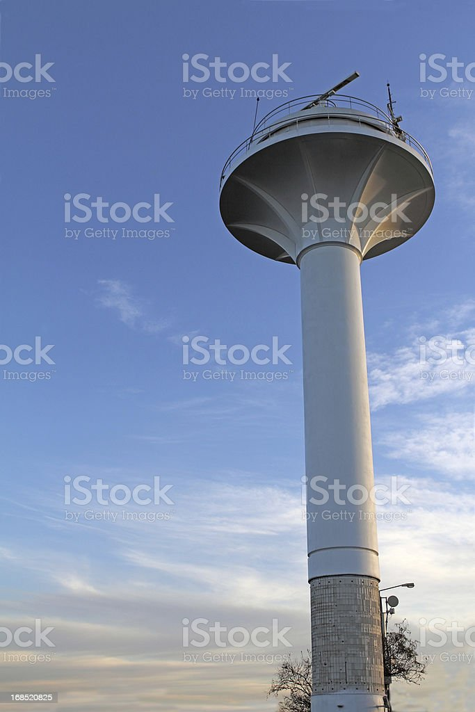 control tower with radar on top stock photo