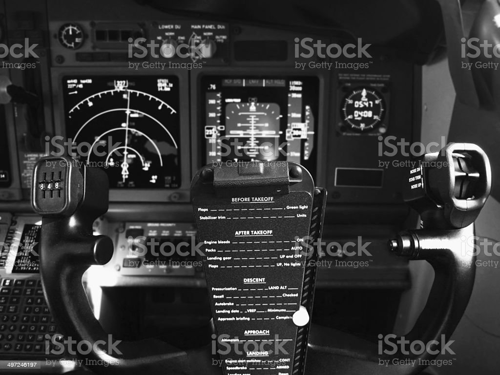 Control Wheel Steering of Boeing 737-800 stock photo