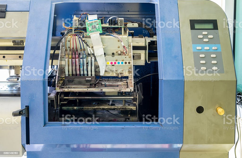 Controller circuit board printer inkjet dirty stock photo