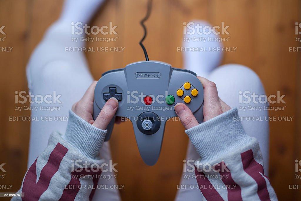 N64 Controller - Nintendo Game Controller stock photo