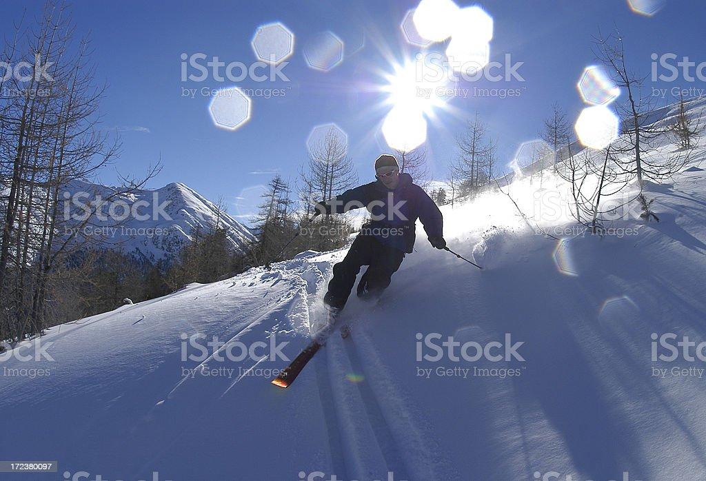 Controluce con riflessi sciatore royalty-free stock photo