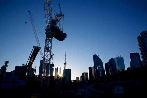 contruction of high rise apartment in Toronto stock photo