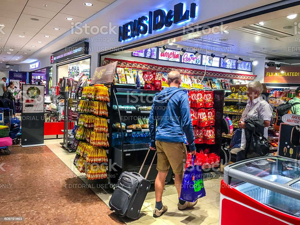 Convenience store at Arlanda Airport, Stockholm, Sweden stock photo
