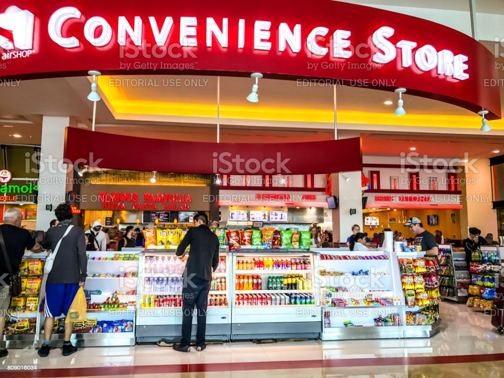 Convenience Store at Cancun International Airport, Mexico stock photo
