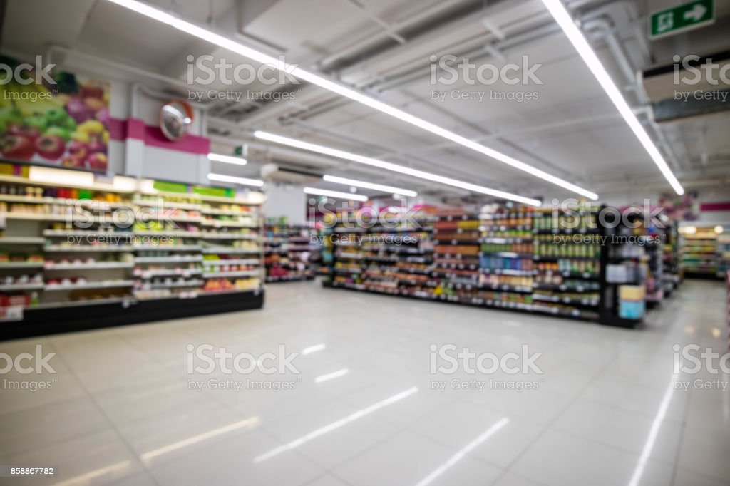 Convenience store interior abstract blur background stock photo