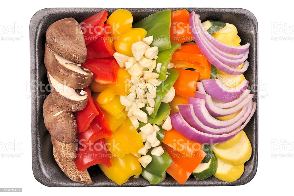 Convenient Vegetables in a styrofoam tray. royalty-free stock photo