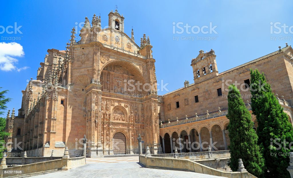 Convent of St. Stephen facade in Salamanca stock photo