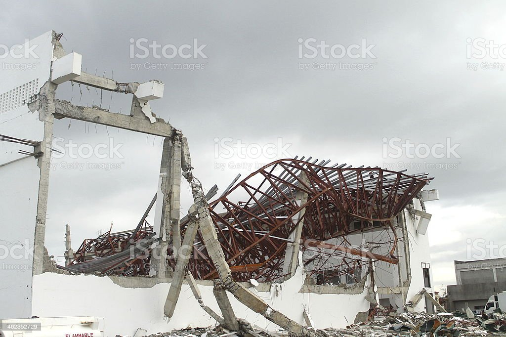 Convention Center Destroyed by Typhoon Haiyan stock photo
