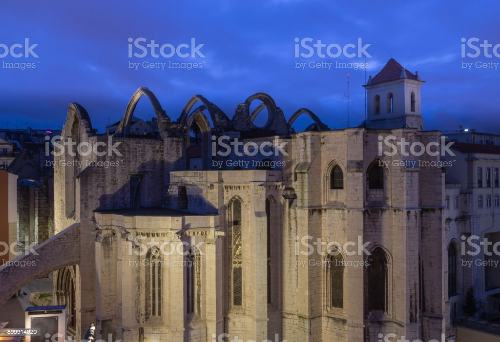 Convento do Carmo Monastery in the center of Lisbon stock photo