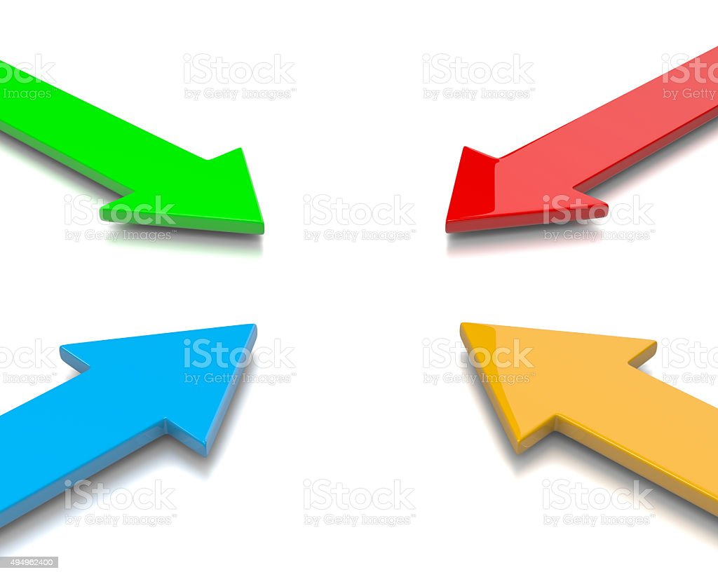 Convergent Colorful Arrows stock photo