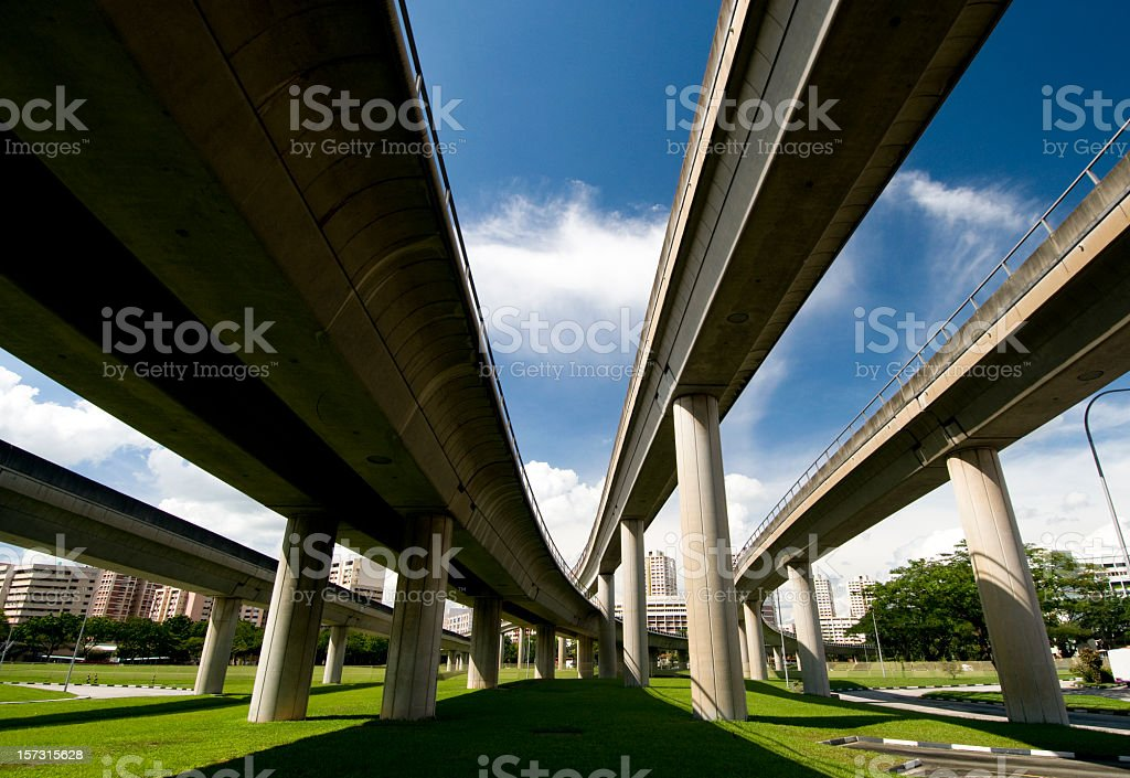 Converging Lines of Transport royalty-free stock photo