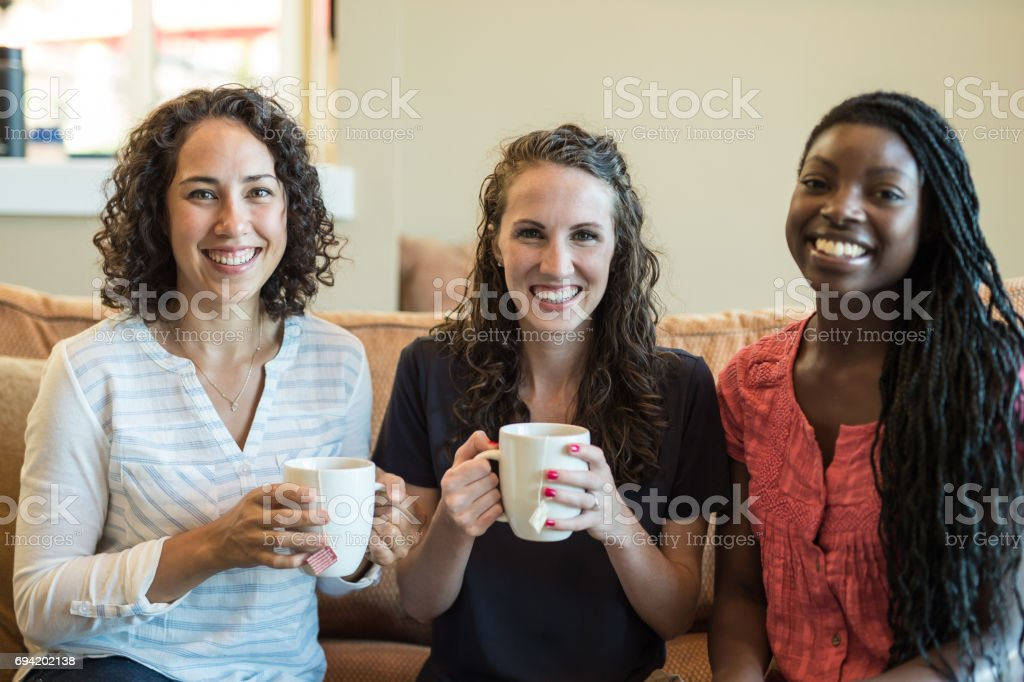 Conversation and coffee stock photo