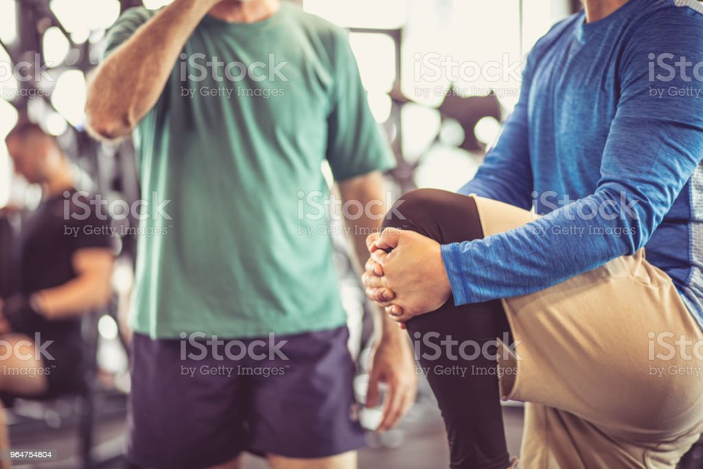Conversation and exercise. royalty-free stock photo