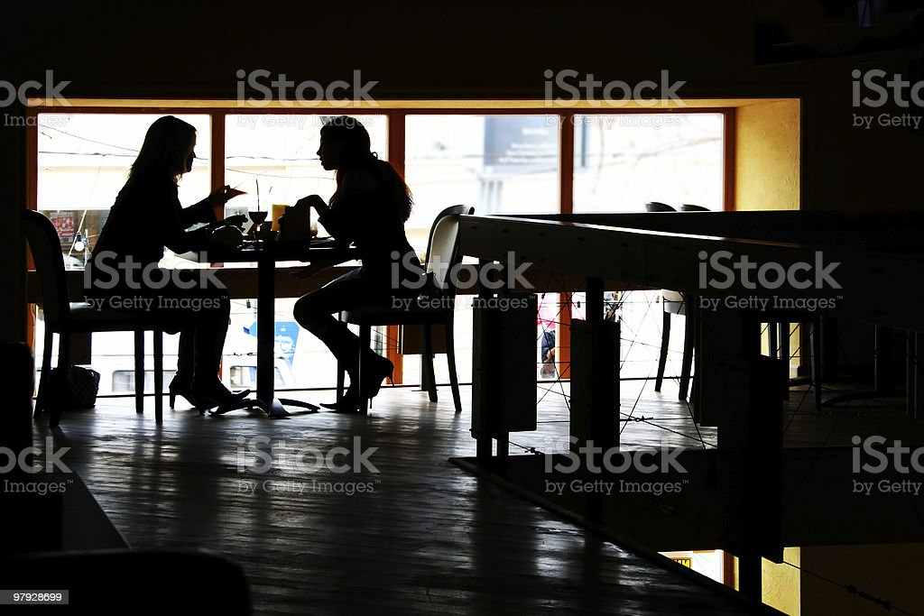 Conversation at restaurant royalty-free stock photo