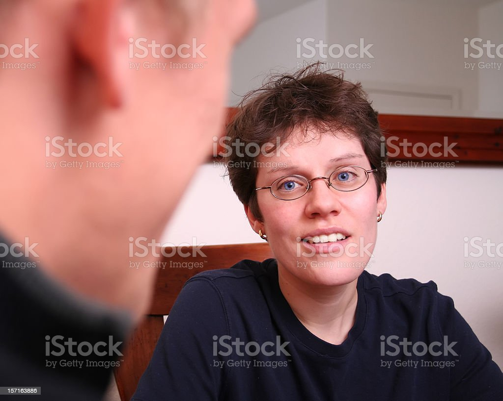 Conversation between a man and a woman stock photo