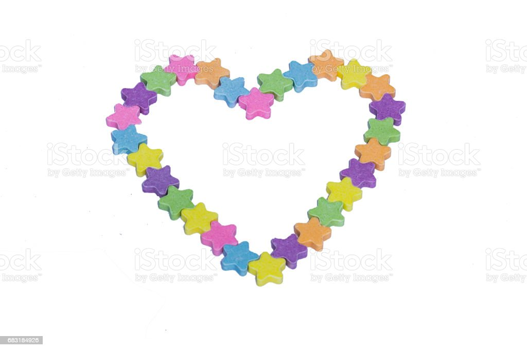 Conversation Hearts in the Shape of a Heart on a white background 免版稅 stock photo