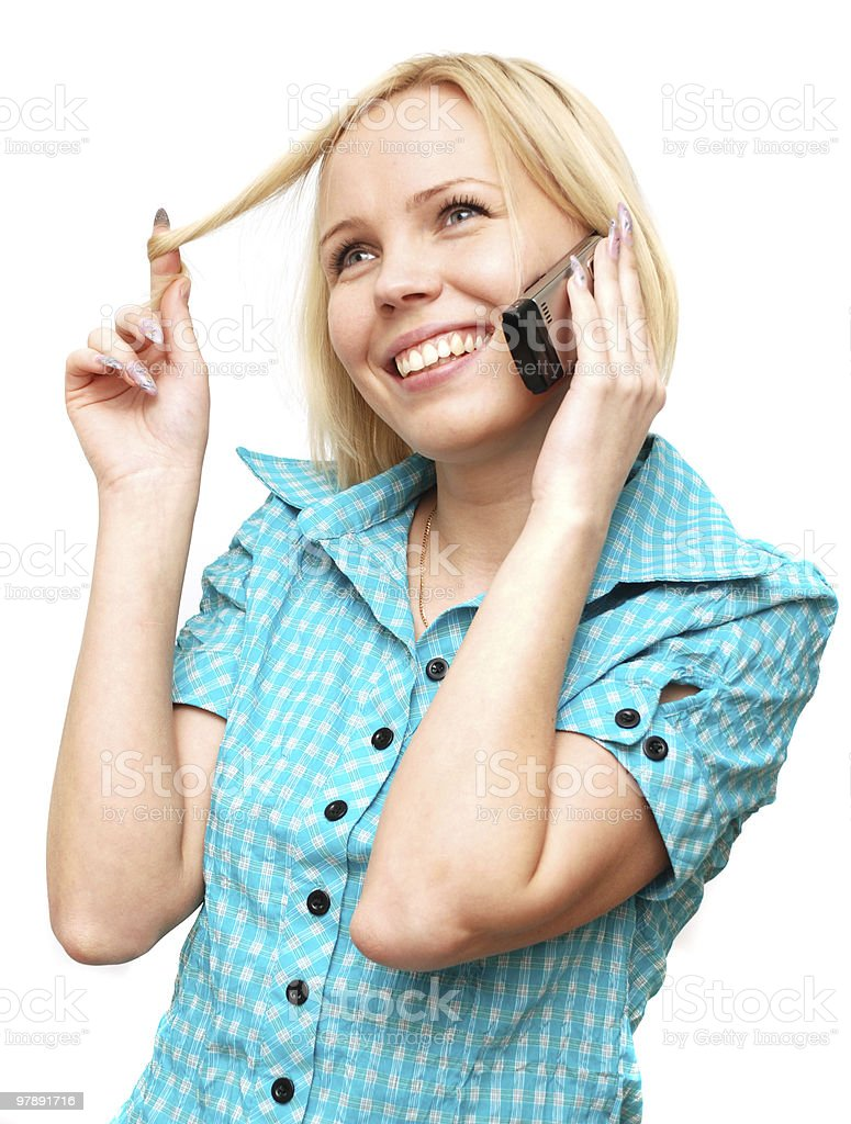 conversation on a mobile phone royalty-free stock photo