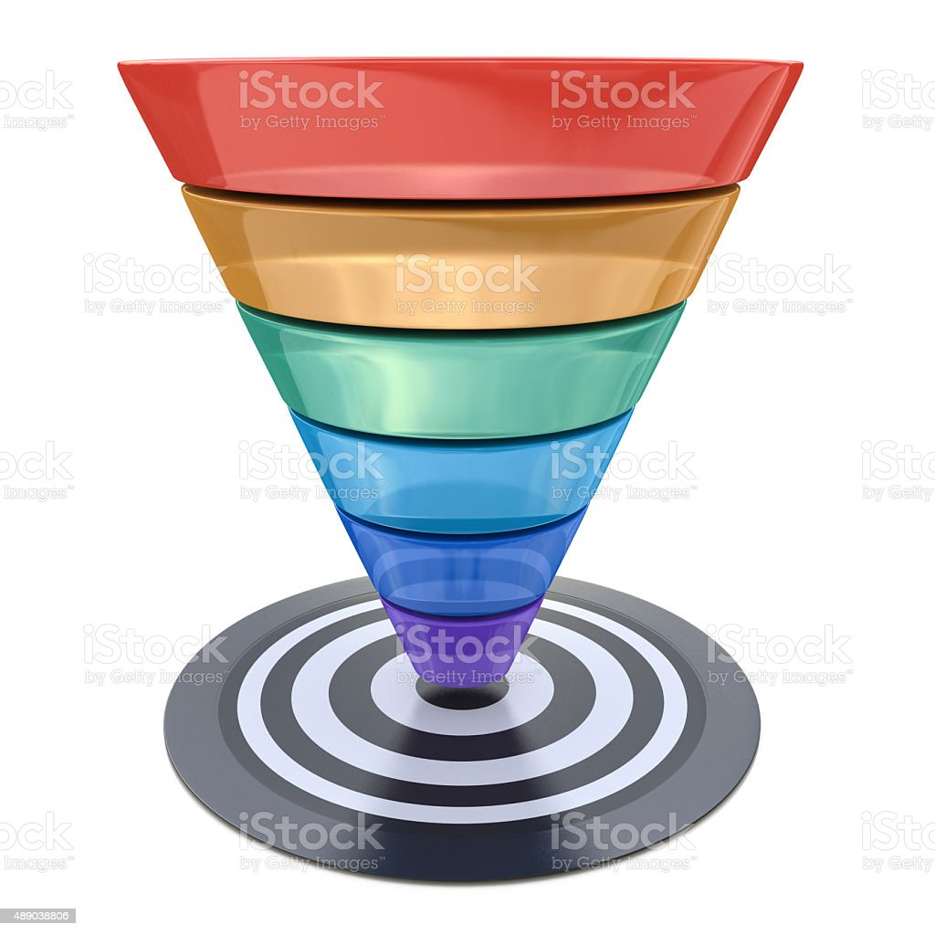 Conversion funnel over a white background with a target stock photo
