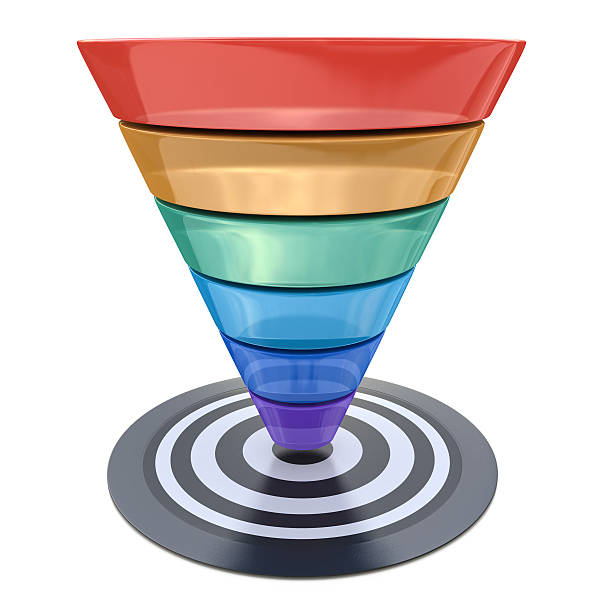 Conversion funnel over a white background with a target Conversion funnel over a white background with a target in the design of information related to marketing sea channel stock pictures, royalty-free photos & images