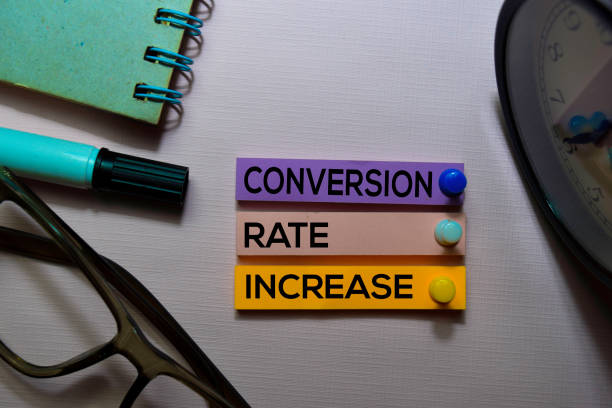 Conversion Rate Increase (CRI) text on sticky notes isolated on office desk stock photo