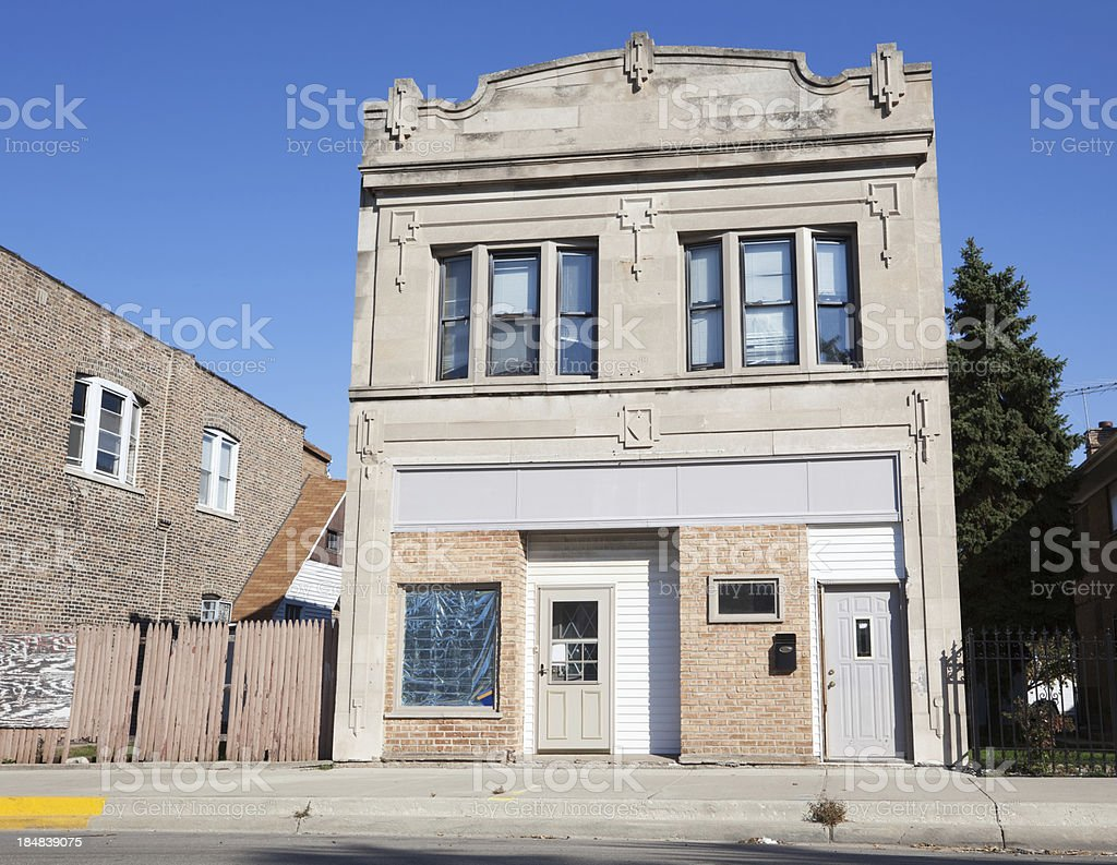 Converted Edwardian shop building in Hegewisch, Chicago royalty-free stock photo