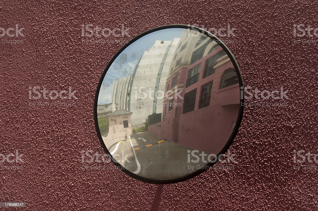 Convex Concave mirror on the turn for drivers stock photo