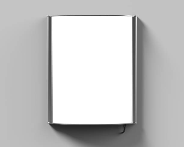 convex led light box single sided poster display or  sign holder curved frame for  theater bills or ads. 3d render illustration. - totem fair foto e immagini stock