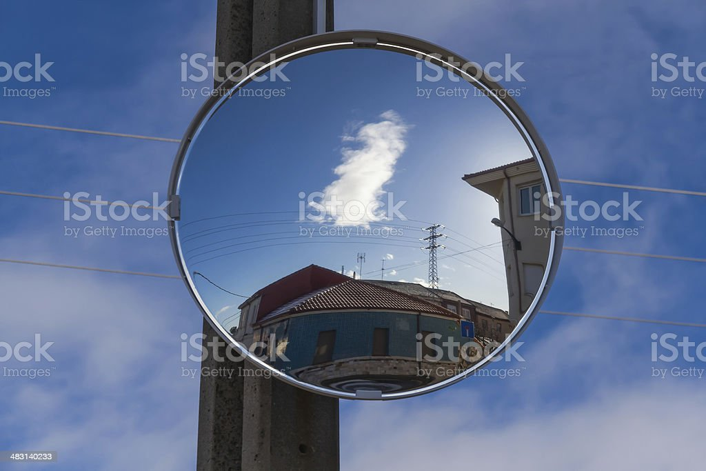 Convex Mirror in Crossing - Espejo Convexo en Cruce stock photo