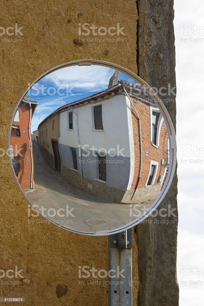 Convex Mirrors at Intersection - Espejo Convexo en Cruce stock photo