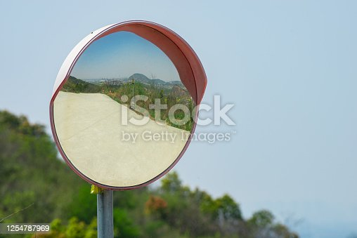 Convex mirrors on mountain roads to ensure driving safety
