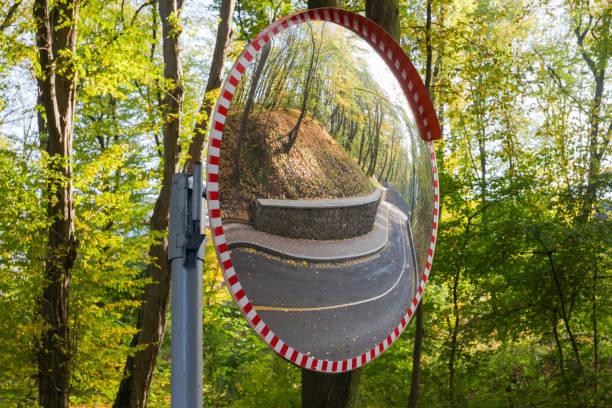 miroir sphérique de circulation de convex monté sur une route sinueuse de forêt - convexe photos et images de collection