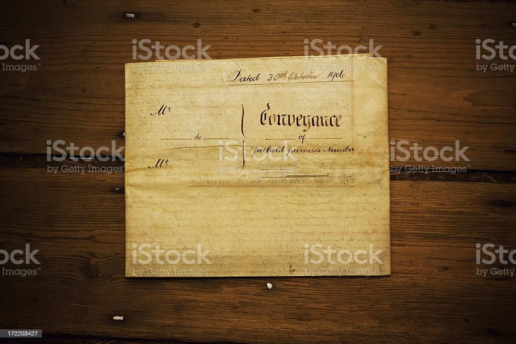 Conveyance document from 1906 stock photo