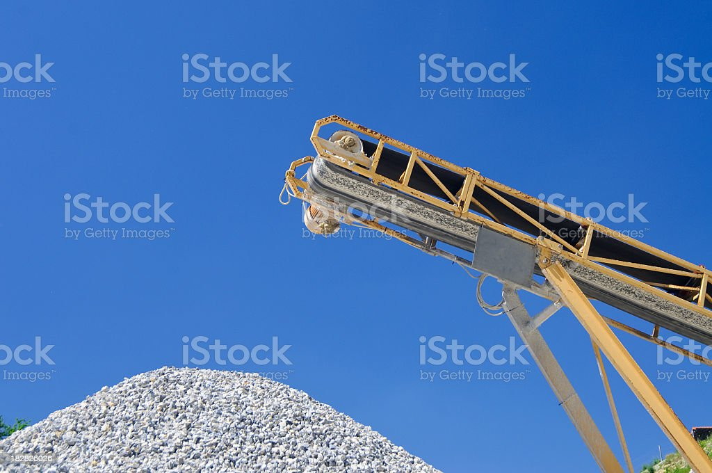 Conveyor Belt And Crushed Rock At A Quarry Stock Photo & More