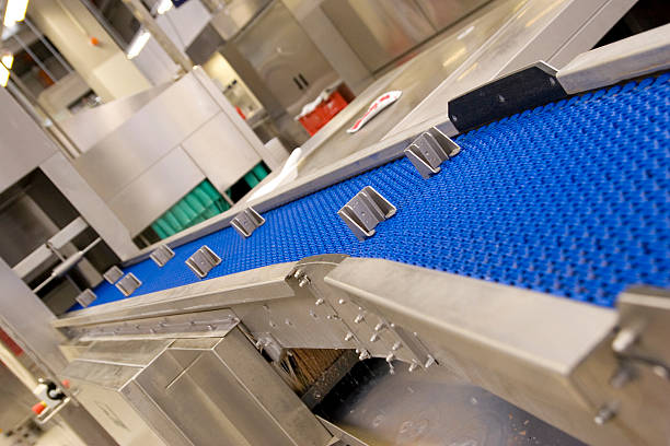 conveyor belt of giant dishwasher - commercial dishwasher stock photos and pictures