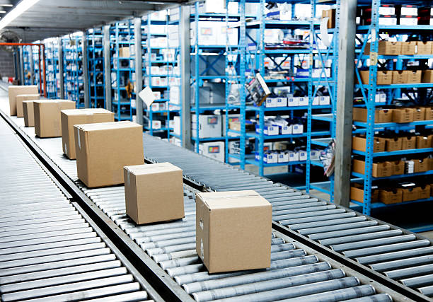 Conveyor Belt with Boxes stock photo