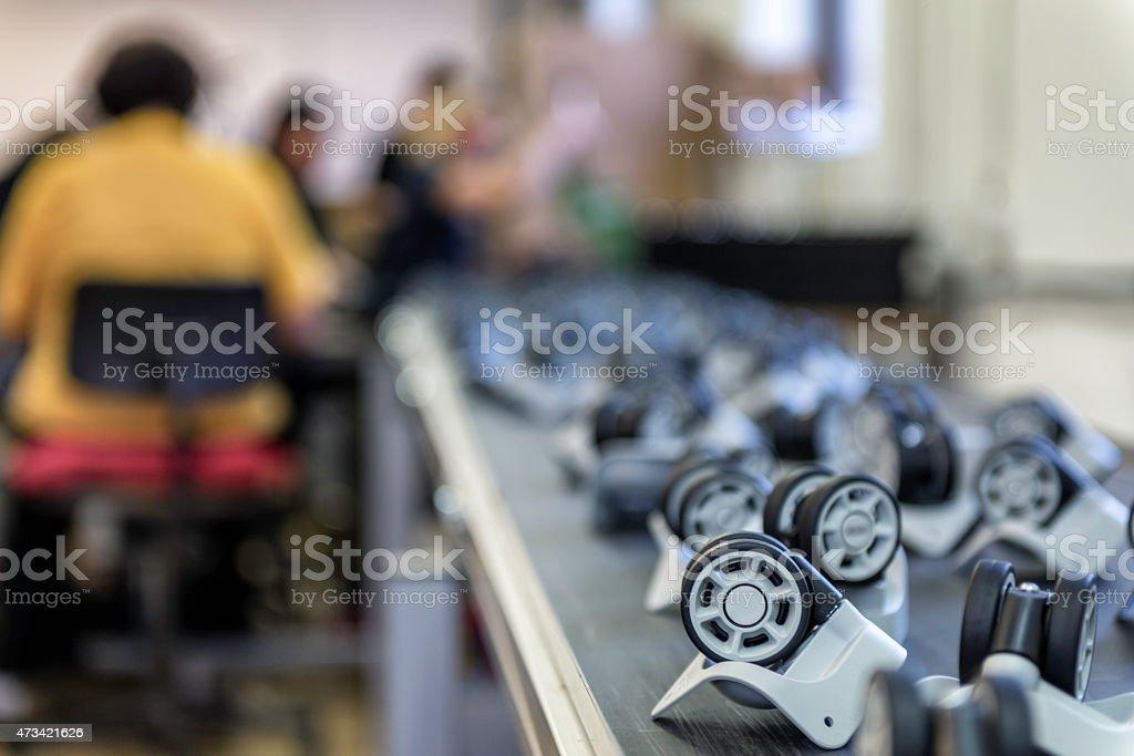 Conveyor belt with plastic wheel stock photo