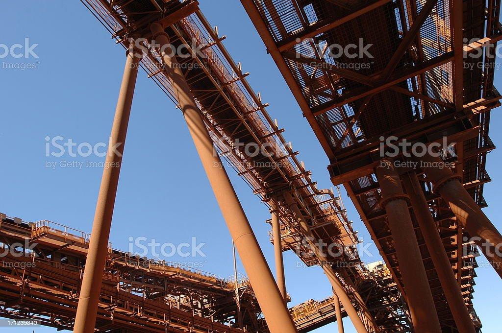 Conveyor belts at an ore process facility. royalty-free stock photo