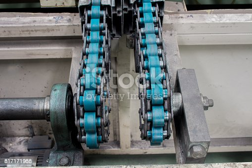 istock Conveyor chain drive shaft production line of the factory 817171988