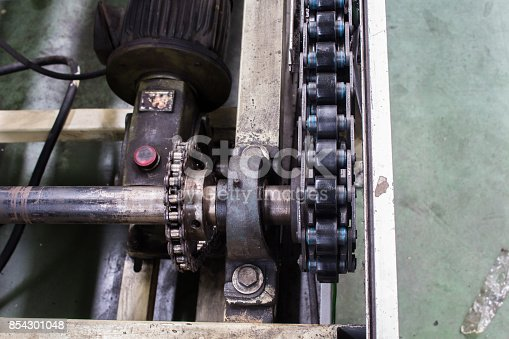 istock Conveyor chain drive shaft production line of the factory 854301048
