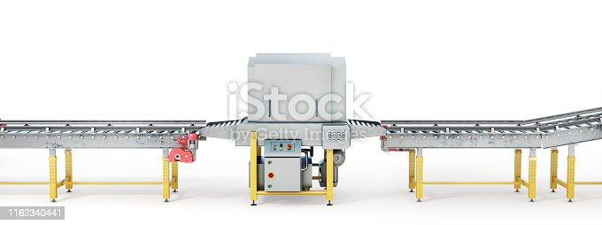 istock Conveyor line on a white background. 3d illustration 1162340441