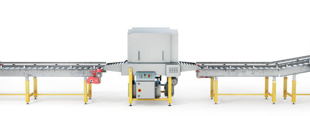 conveyor line on a white background. 3d illustration - metal robot in logistic factory foto e immagini stock