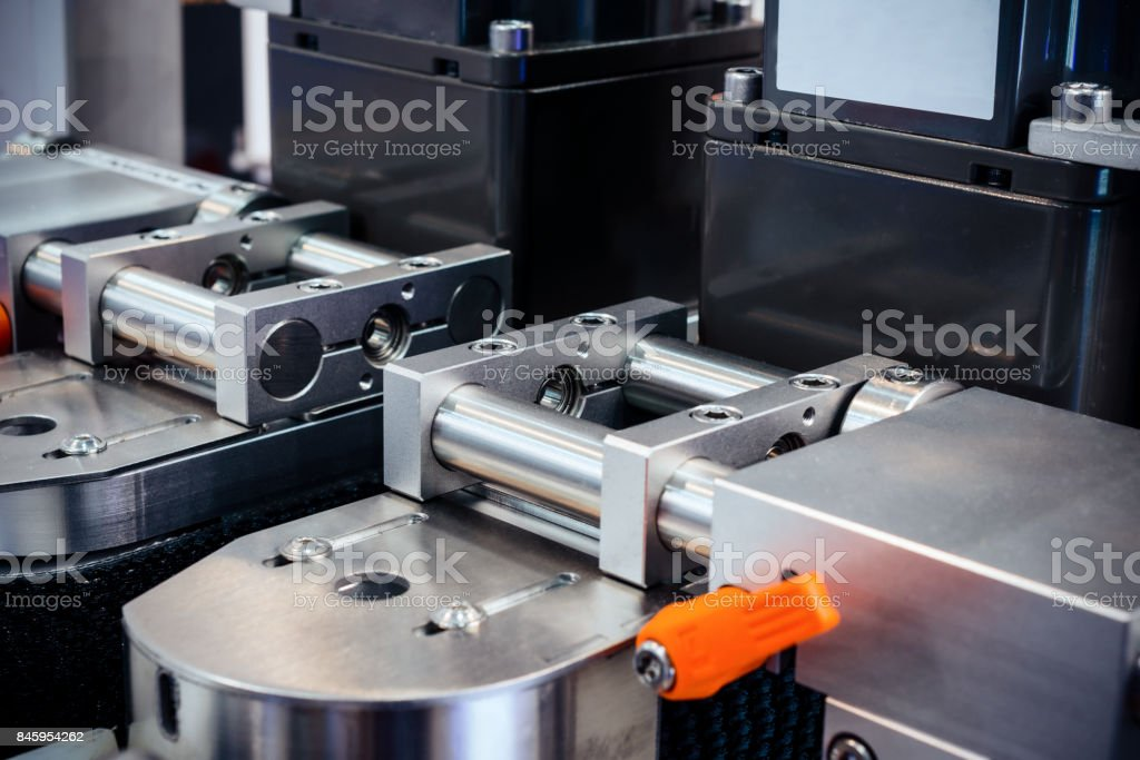 Conveyor of the pharmaceutical labeling machine stock photo