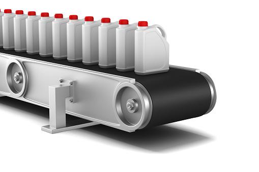 Transportband Op Witte Achtergrond Geïsoleerde 3d Illustratie Stockfoto en meer beelden van Apparatuur